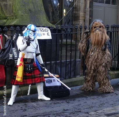 scottish kilted stormtrooper chewbacca star wars edinburgh royal mile